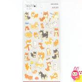 Hamee 日本製 WAN.T 可愛狗狗 金箔和紙 造型貼紙 裝飾DIY (柴犬) KM06993