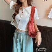 白色針織衫女短袖夏季薄款外搭bm開衫韓版短款漏肚臍露腰冰絲上衣