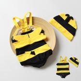 可愛小蜜蜂兒童泳衣男童女童通用連體游泳衣嬰兒寶寶卡通造型泳裝第七公社