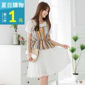 OrangeBear《DA3615》幾何縮腰設計小可愛x雪紡兩件式洋裝.2色--適 XL~5L