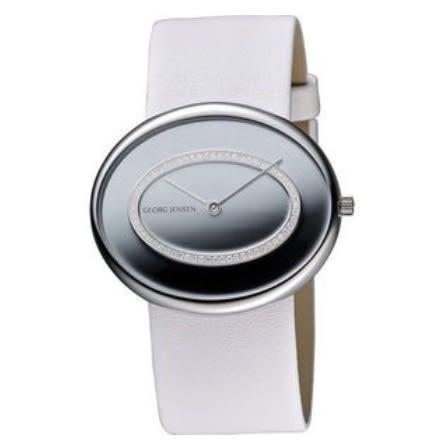 喬治傑生(GEORG JENSEN)-OVAL橢圓真鑽腕錶-銀/白