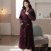 睡衣 情侶睡袍冬天加厚加長款女加大碼珊瑚絨夾棉冬季三層保暖加絨