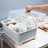 帶蓋碗碟架放碗架收納盒瀝水架 家用裝碗筷收納箱廚房碗櫃置物架   igo可然精品鞋櫃