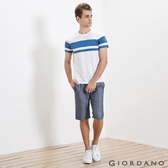 【GIORDANO】男裝純棉抽繩鬆緊腰休閒短褲(69 海軍藍細紋)