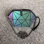 女包包新款貝殼包幾何菱格夜光半圓鏈條斜背包手機包迷你小包快速出貨
