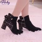 靴子 綁帶格紋拼接粗跟短靴-Ruby s...