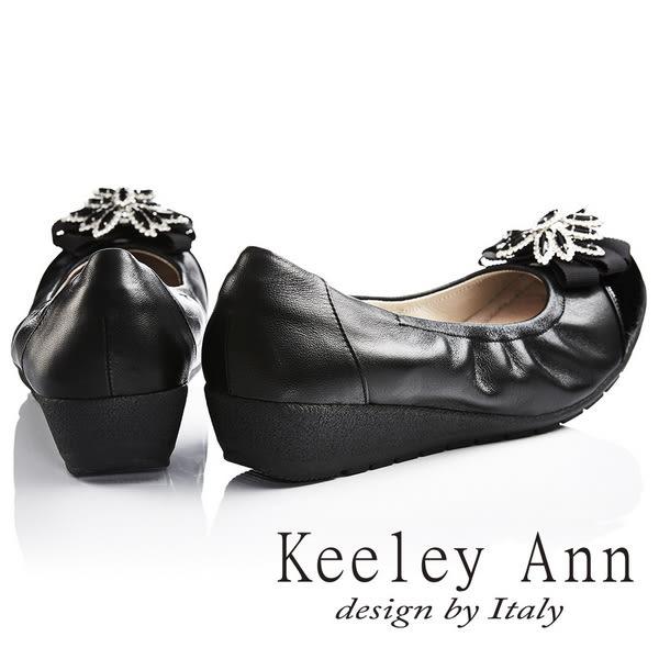 ★2017春夏★Keeley Ann氣質百搭~浪漫晶鑽花飾OL全真皮楔形娃娃鞋(黑色)