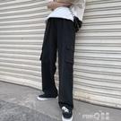 工裝褲女夏季薄款黑色寬鬆高腰直筒褲顯瘦小個子拖地寬管褲垂感 (pinkq 時尚女裝)