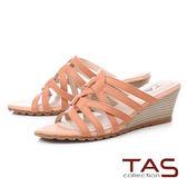 ★2018春夏新品★TAS 華麗水鑽夾腳金屬小坡跟涼鞋-夏日橘