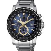 CITIZEN 星辰 光動能萬年曆電波錶-藍x金時標/43mm AT8124-83M