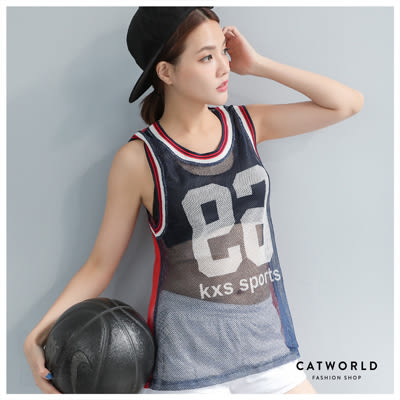 Catworld 美式數字撞色邊網眼罩衫運動背心【11406426】‧S/M/L/XL