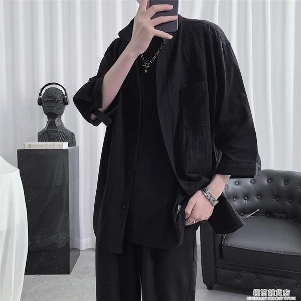 夏季棉麻短袖襯衫男設計感小眾上衣情侶裝襯衣高級感半袖日式古著 極簡雜貨