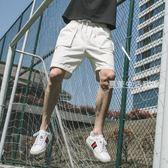 五分褲 短褲男夏季速干寬鬆中褲子修身五分褲休閒褲運動褲白色沙灘褲潮流·夏茉生活