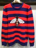 男裝歐美時尚明星同款蜜蜂條紋針織衫毛衣男打底羊毛衫     東川崎町