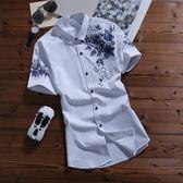 夏季男裝短袖襯衫修身青年休閒韓版潮棉男士短袖花襯衣服上衣053     東川崎町