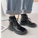 馬丁靴粗跟馬丁靴女夏新款短筒英倫風厚底鞋顯腳小黑色機車短靴 快速出貨