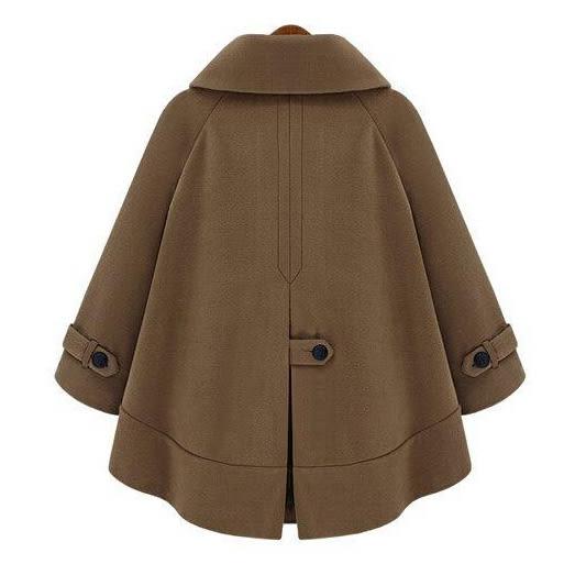 短斗篷式短大衣 歐美風格質感翻領斗篷式毛呢外套 艾爾莎【TGK4538】