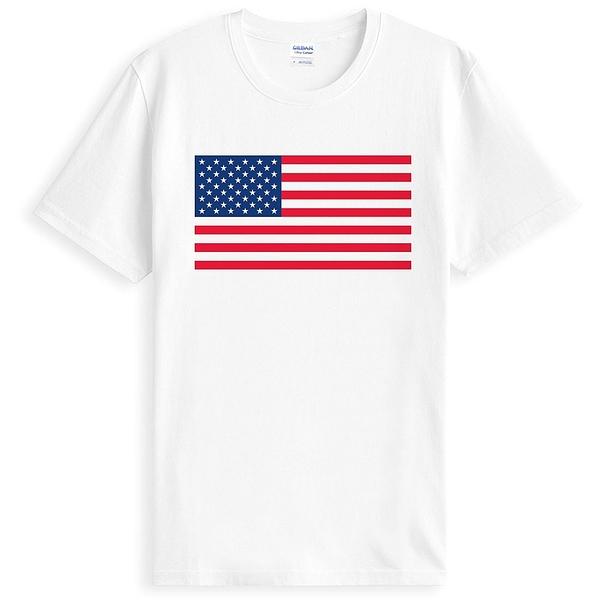 USA Flag短袖T恤-白色 美國旗衝浪海邊渡假刺青幽默設計插畫潮流相片電影390
