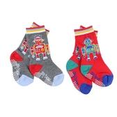 【愛的世界】機器人止滑透氣半統毛巾襪-灰色+紅色/9~21CM-台灣製- ★童鞋童襪