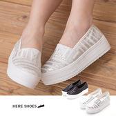 [Here Shoes]2色 金蔥條紋質感混搭帆布有型 厚底懶人鞋 鬆糕鞋舒適 ◆MIT台灣製─AAB122