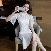 VK精品服飾 韓系名媛氣質蕾絲透視拼接收腰長袖洋裝