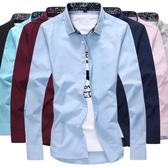 新款長袖襯衫男士韓版修身免燙商務休閒潮流襯衣青年男衣服 免運