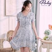洋裝 露比設計‧交叉綁帶荷葉印花短袖洋裝-Ruby s 露比午茶
