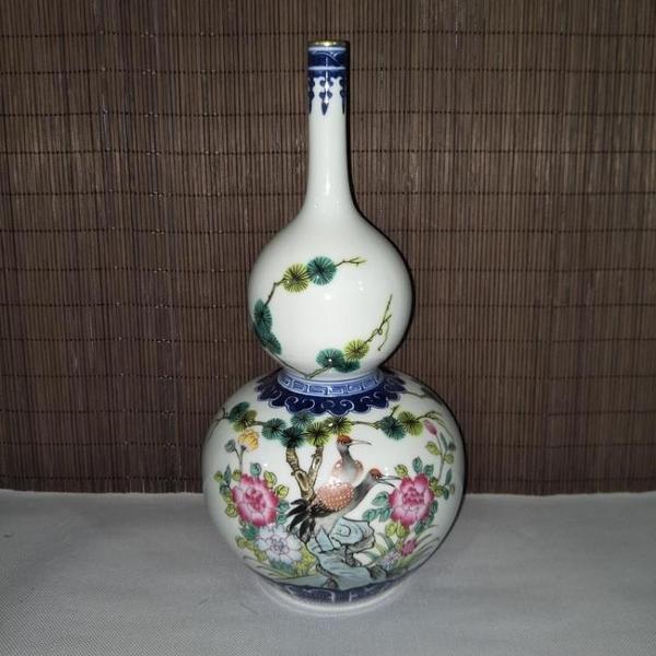 清乾隆青花斗彩富貴長壽花鳥葫蘆瓶 全手工仿古瓷器擺件古玩收藏1入