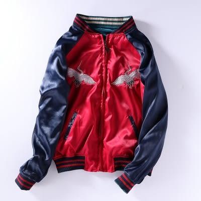 橫須賀仙鶴刺繡棒球服女春兩面穿夾克雙面穿外套寬松原宿風