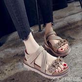 涼鞋女新款韓版百搭花朵魔術貼平底鞋學生外穿鬆糕厚底鞋  潮流前線