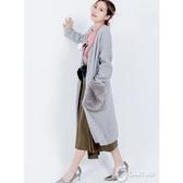 【CANTWO】毛毛皮草口袋針織長罩衫(共二色)~秋冬新品上架