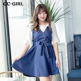 中大尺碼 氣質雪紡豎條紋洋裝(附綁帶) - 適XL~5L《 64846G 》CC-GIRL 新品