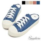 穆勒鞋 MIT微增高帆布餅乾鞋拖鞋-牛仔藍