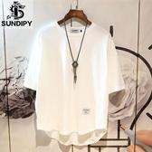 日系男士潮流發型師半袖五分短袖T恤ins寬鬆韓版白色衣服體桖 酷男精品館