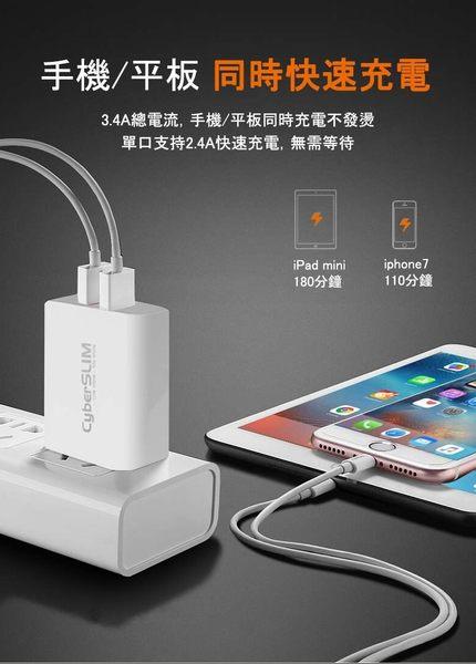 CyberSLIM U2W17 2孔 充電器(3.4A快充)  iphone /ipad /android 適用