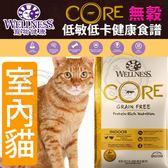 【zoo寵物商城】Wellness寵物健康》CORE無穀室內貓低卡健康食譜-2lb/0.9kg
