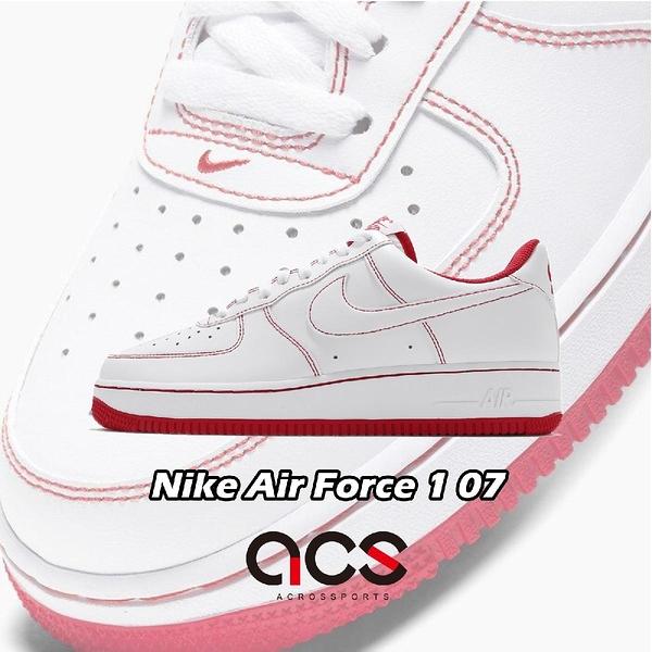 Nike 休閒鞋 Air Force 1 07 白 紅 縫線 AF1 男鞋 皮革 運動鞋 【ACS】 CV1724-100