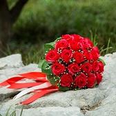 新娘手捧花香皂花結婚緞帶手捧花束永生花仿真紅玫瑰花攝影婚禮 幸福第一站