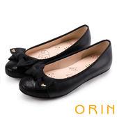 ORIN 時尚甜心 鞋頭壓紋全牛皮蝴蝶結娃娃鞋-黑色