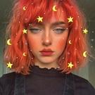 短假髮 假髮女亮橙色短捲髮網紅街拍空氣劉...
