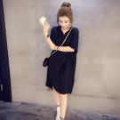 襯衫洋裝 正韓大碼寬鬆遮肚短袖V領上衣中長款襯衫裙雪紡連身裙女夏-Ballet朵朵