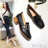 女鞋子春秋新款韓版時尚方頭奶奶鞋百搭單鞋粗跟高跟鞋潮  遇見生活