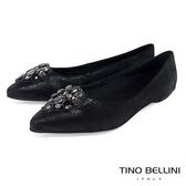 Tino Bellini 巴西進口華麗晶鑽尖楦平底娃娃鞋 _ 黑 TF8551 歐洲進口款