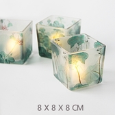 香薰蠟燭杯玻璃燭台浪漫燭光晚餐DIY簡美清新綠葉套三8CM可養多肉玻璃杯