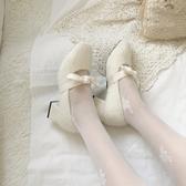 女瑪麗珍鞋 伴娘毛毛鞋女冬網紅新款正韓復古粗跟加絨豆豆鞋瑪麗珍高跟【快速出貨】