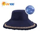 UV100 防曬 抗UV-民族流蘇風印花雙面戴帽