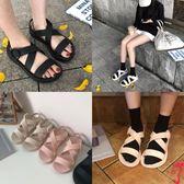 細細條 韓版學生港味chic風交叉帶涼鞋女夏平底羅馬果凍沙灘涼鞋
