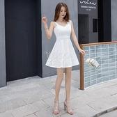 性感夜店洋裝女新款禮服韓版修身顯瘦遮肚超仙無袖吊帶V領a字裙