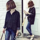 長袖襯衫/春秋裝新款韓版寬鬆大碼百搭學生格子女襯衣薄外套