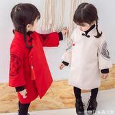 兒童裙子冬季新款童裝女童漢服唐裝連衣裙寶寶加厚繡花拜年服